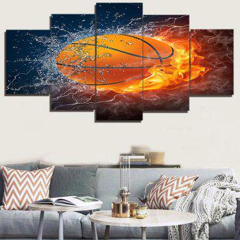 Burning Football Printed Unframed Decorative Canvas Paintings - COLORFUL 1PC:8*20,2PCS:8*12,2PCS:8*16 INCH( NO FRAME )