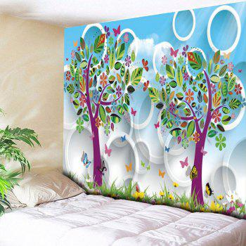 Cartoon Tree Circle Printed Wall Art Tapestry - SKY BLUE W79 INCH * L59 INCH