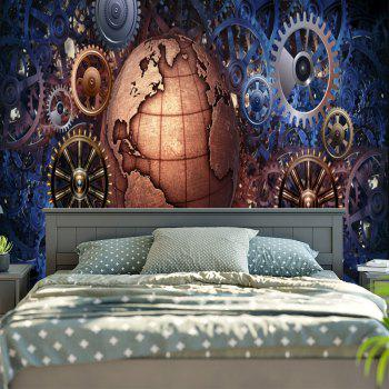 Gear Wheel and Globe Printed Vintage Wall Tapestry - W59 INCH * L59 INCH W59 INCH * L59 INCH