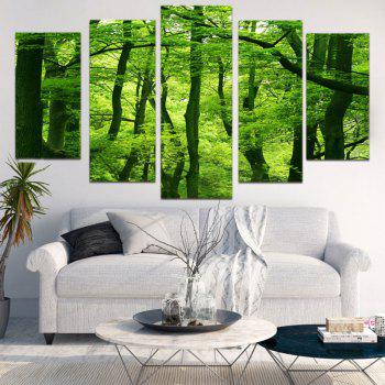Fresh Forest Print Split Decorative Canvas Paintings - GREEN 1PC:8*20,2PCS:8*12,2PCS:8*16 INCH( NO FRAME )