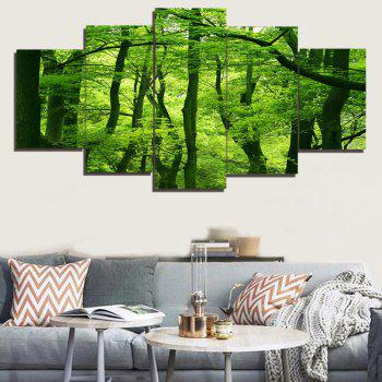 Fresh Forest Print Split Decorative Canvas Paintings - GREEN GREEN