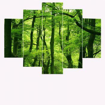 Fresh Forest Print Split Decorative Canvas Paintings - 1PC:8*20,2PCS:8*12,2PCS:8*16 INCH( NO FRAME ) 1PC:8*20,2PCS:8*12,2PCS:8*16 INCH( NO FRAME )