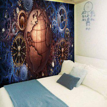 Gear Wheel and Globe Printed Vintage Wall Tapestry - COLORMIX W79 INCH * L59 INCH