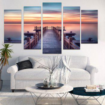 Sunset Wood Bridge Split Canvas Wall Art Paintings - COLORFUL COLORFUL