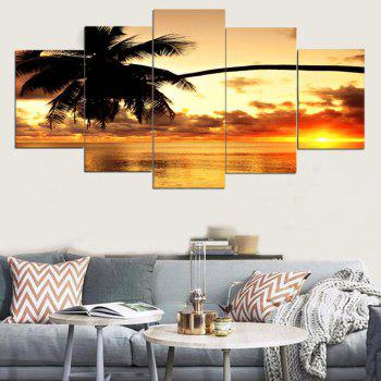 Coconut Tree Sunset Print Unframed Canvas Paintings - COLORFUL COLORFUL