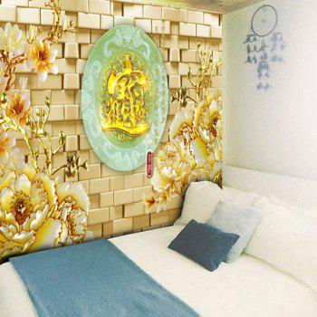 Floral Oval Jade Plate Pattern Wall Tapestry - W59 INCH * L51 INCH W59 INCH * L51 INCH