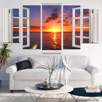 Unframed Sea View Outside The Window Paintings - COLORFUL 1PC:8*20,2PCS:8*12,2PCS:8*16 INCH( NO FRAME )