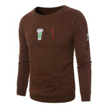 Coffee Graphic Embroidered Fleece Sweatshirt - BROWN XL