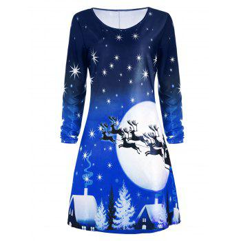 Christmas Deer Long Sleeve Dress - BLUE L