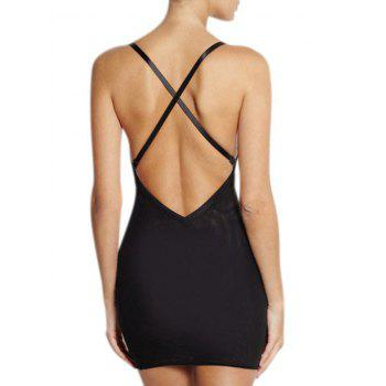 Plunge Convertible Strap Slip Corset Dress - BLACK M