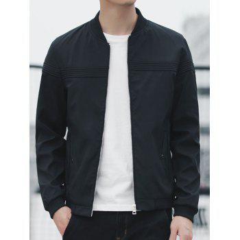 Stand Collar Zipper Up Blouson aviateur - Noir 2XL