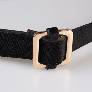 Retro Metal Square Buckle Decorated Skinny Belt - BLACK