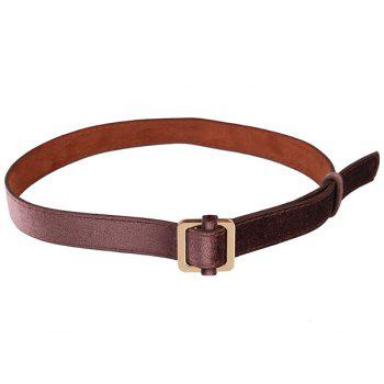 Retro Metal Square Buckle Decorated Skinny Belt - COFFEE COFFEE