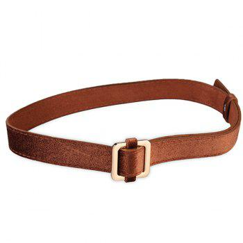 Retro Metal Square Buckle Decorated Skinny Belt - BROWN BROWN