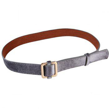 Retro Metal Square Buckle Decorated Skinny Belt - FROST FROST