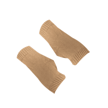 Outdoor Crochet Exposed Finger Gloves - CAMEL