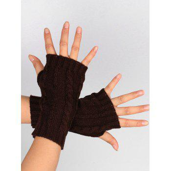 Hollow Out Crochet Knitting Fingerless Gloves - COFFEE COFFEE
