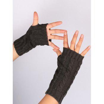 Hollow Out Crochet Knitting Fingerless Gloves - DEEP GRAY