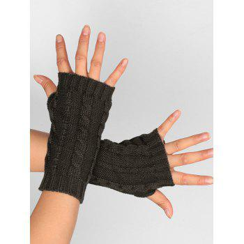Hollow Out Crochet Knitting Fingerless Gloves - DEEP GRAY DEEP GRAY