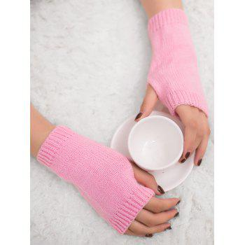 Outdoor Crochet Exposed Finger Gloves - PINK PINK