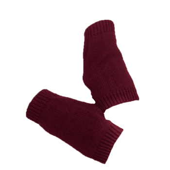 Outdoor Crochet Exposed Finger Gloves - WINE RED