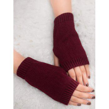 Outdoor Crochet Exposed Finger Gloves - WINE RED WINE RED