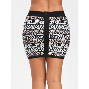 Jacquard Bodycon Bandage Skirt - BLACK L