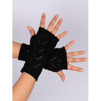 Letter V Shape Hollow Out Exposed Finger Knit Gloves - BLACK