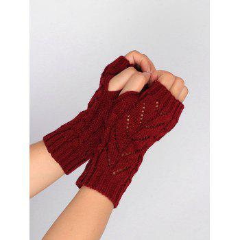 Letter V Shape Hollow Out Exposed Finger Knit Gloves - WINE RED WINE RED
