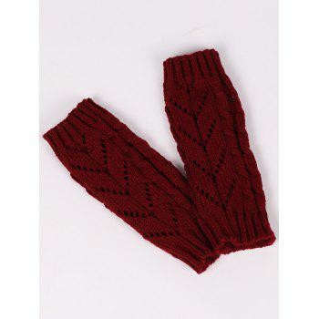 Letter V Shape Hollow Out Exposed Finger Knit Gloves - WINE RED