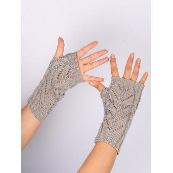 Letter V Shape Hollow Out Exposed Finger Knit Gloves - LIGHT GRAY