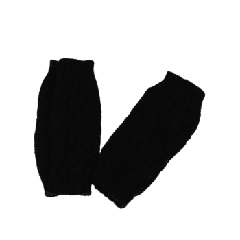 Tree Branch Shape Hollow Out  Exposed Finger Knitted Gloves - BLACK