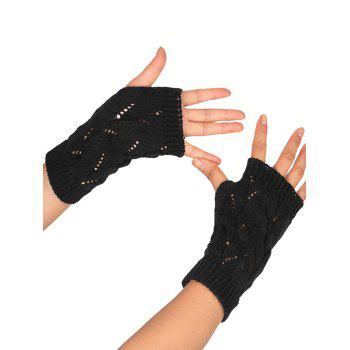 Tree Branch Shape Hollow Out  Exposed Finger Knitted Gloves - BLACK BLACK