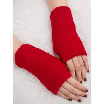 Striped Pattern Exposed Finger Knitted Gloves - RED RED