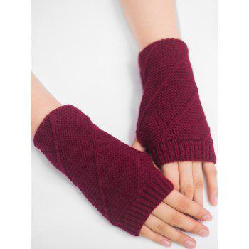 Striped Pattern Exposed Finger Knitted Gloves - WINE RED WINE RED