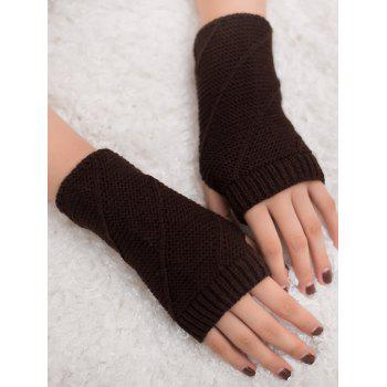 Striped Pattern Exposed Finger Knitted Gloves - COFFEE COFFEE