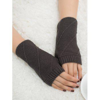 Striped Pattern Exposed Finger Knitted Gloves - DEEP GRAY DEEP GRAY