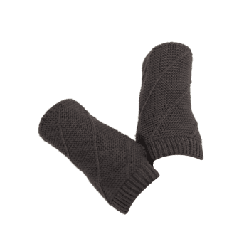 Striped Pattern Exposed Finger Knitted Gloves - DEEP GRAY