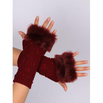 Soft Fur Winter Crochet Knitted Exposed Finger Gloves - WINE RED