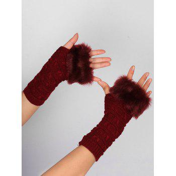 Soft Fur Winter Crochet Knitted Exposed Finger Gloves - WINE RED WINE RED