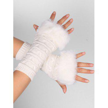 Soft Fur Winter Crochet Knitted Exposed Finger Gloves