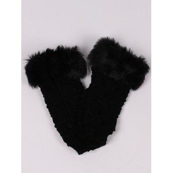 Soft Fur Winter Crochet Knitted Exposed Finger Gloves - BLACK