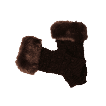Soft Fur Winter Crochet Knitted Exposed Finger Gloves - COFFEE