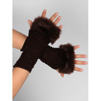 Soft Fur Winter Crochet Knitted Exposed Finger Gloves - COFFEE COFFEE