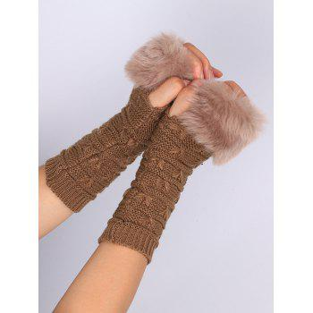 Soft Fur Winter Crochet Knitted Exposed Finger Gloves - KHAKI