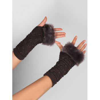 Soft Fur Winter Crochet Knitted Exposed Finger Gloves - DEEP GRAY DEEP GRAY