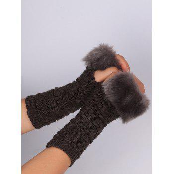 Soft Fur Winter Crochet Knitted Exposed Finger Gloves - DEEP GRAY
