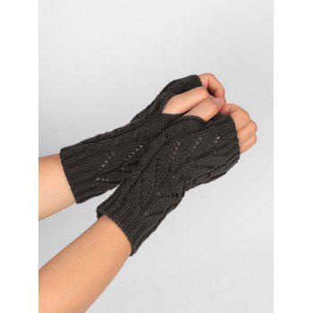 Letter V Shape Hollow Out Exposed Finger Knit Gloves - DEEP GRAY DEEP GRAY