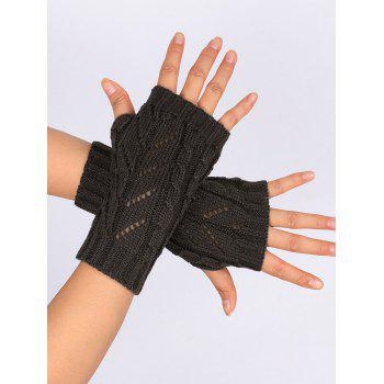 Letter V Shape Hollow Out Exposed Finger Knit Gloves - DEEP GRAY