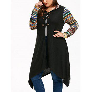 Long Sleeve Plus Size Hooded Handkerchief Dress - BLACK BLACK